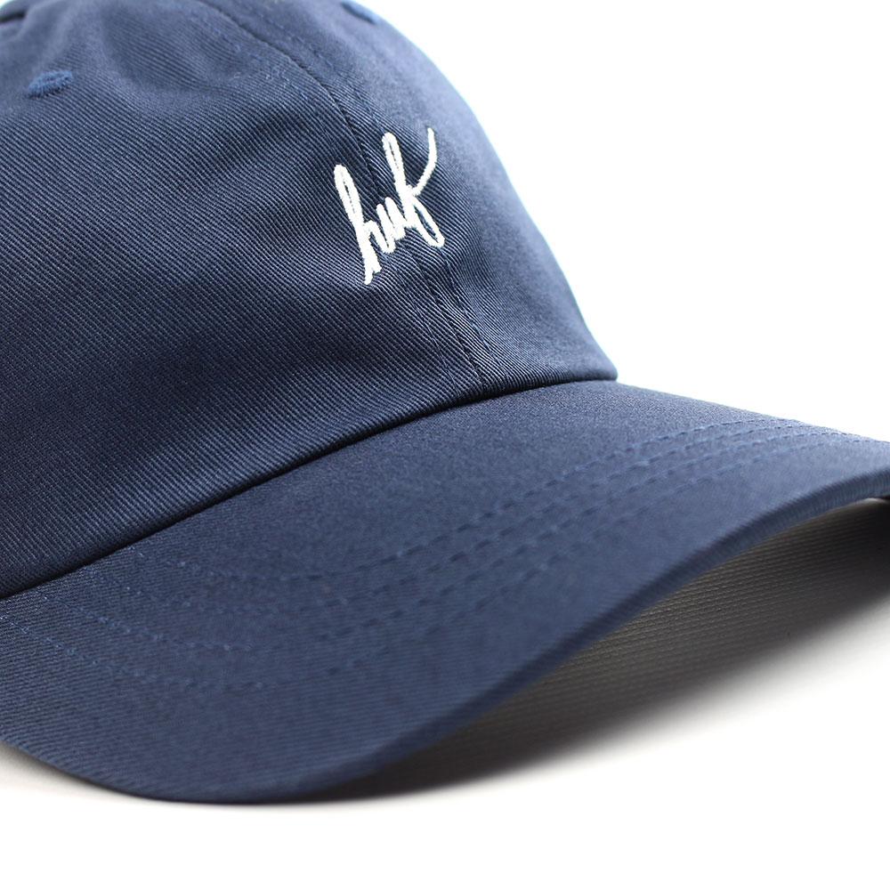 1e4c5f79b08 HUF Script Logo Curved Brim Adjustable Hat - Navy White