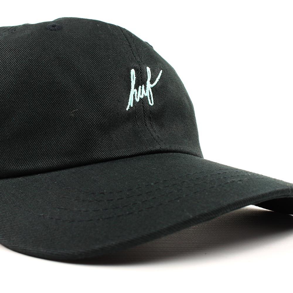 638d7cb92ee HUF Script Logo Curved Brim Adjustable Hat - Black Teal