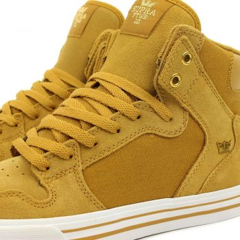 Supra Vaider High Top Shoes - Amber Gold/White