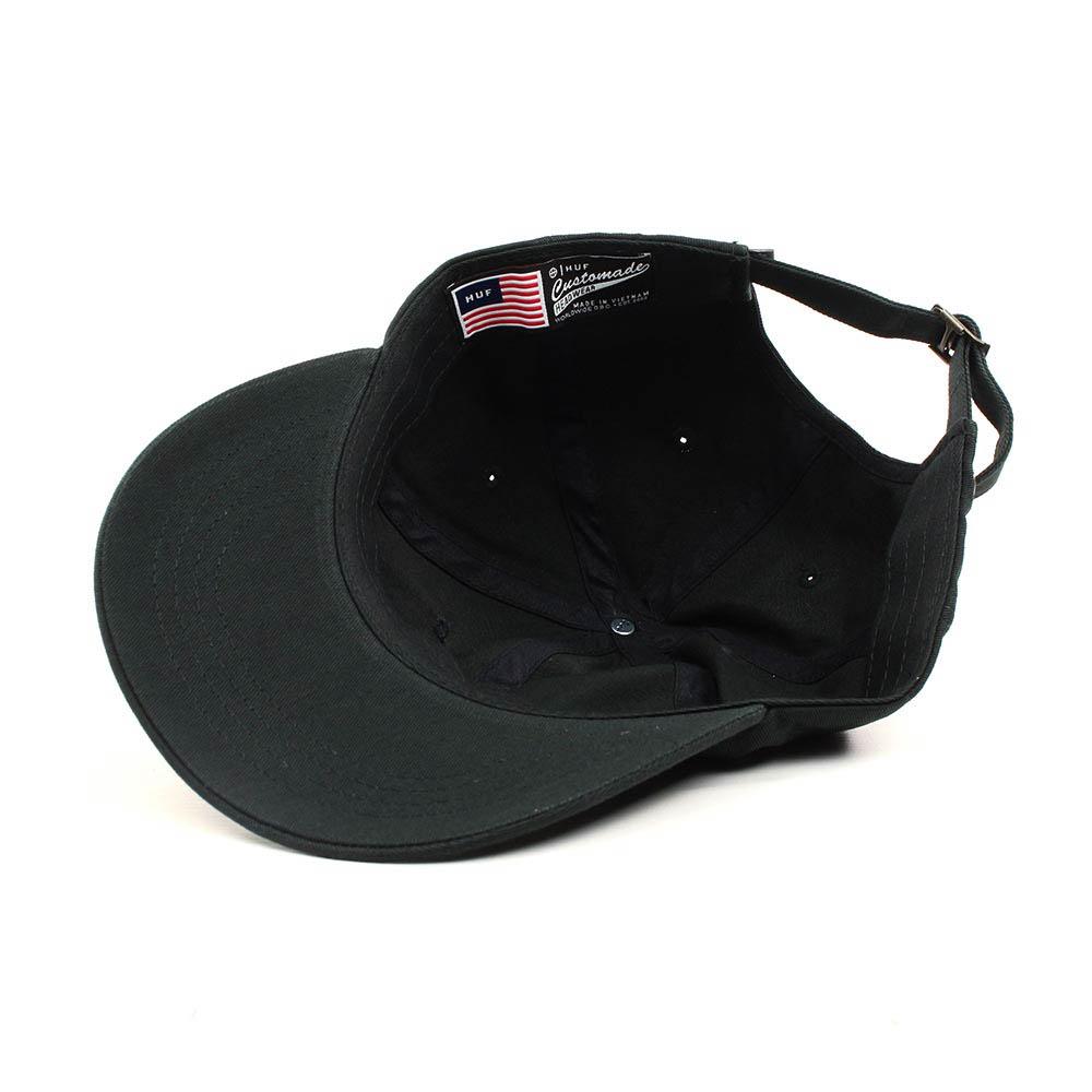 HUF-Script-Curved-Brim-Adjustable-Hat-Black-White-1