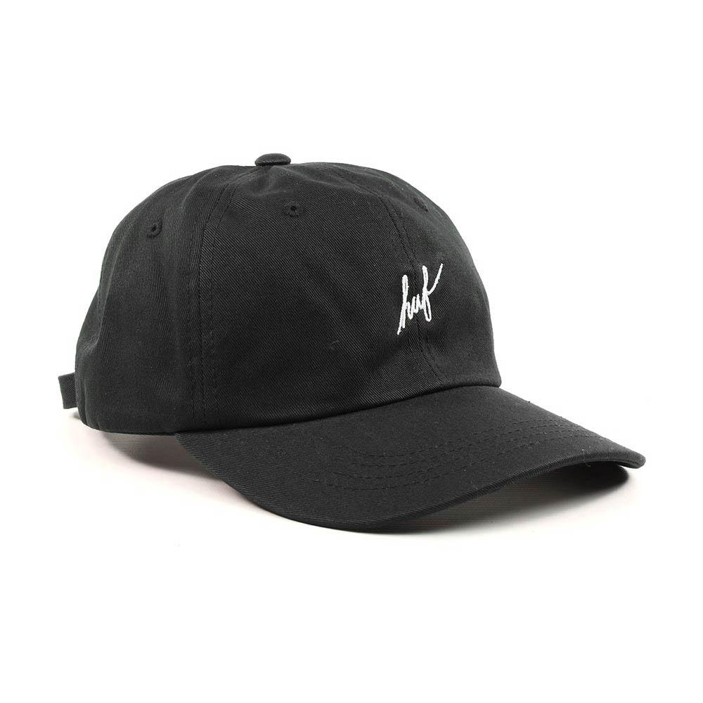 HUF-Script-Curved-Brim-Adjustable-Hat-Black-White-2