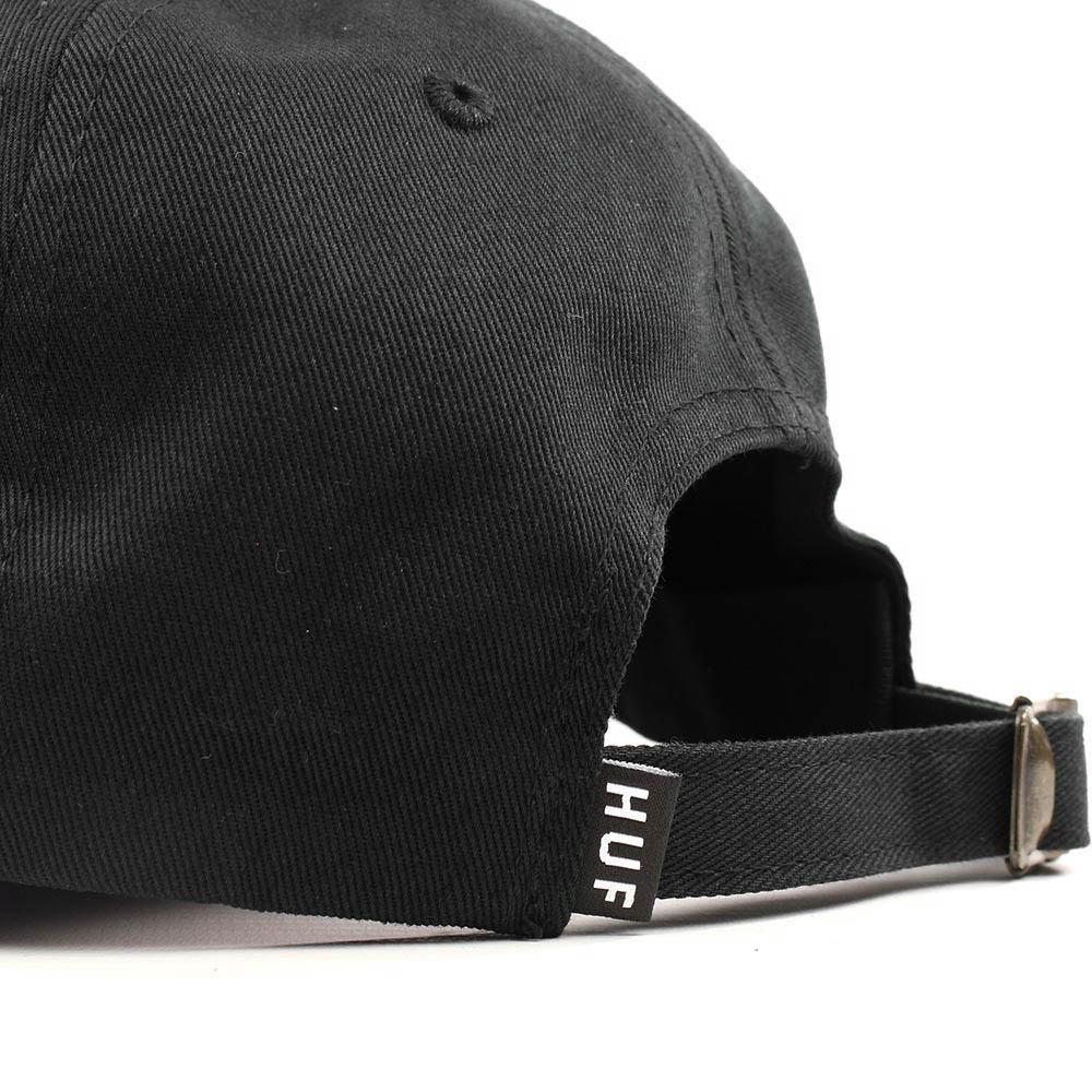 HUF-Script-Curved-Brim-Adjustable-Hat-Black-White-5