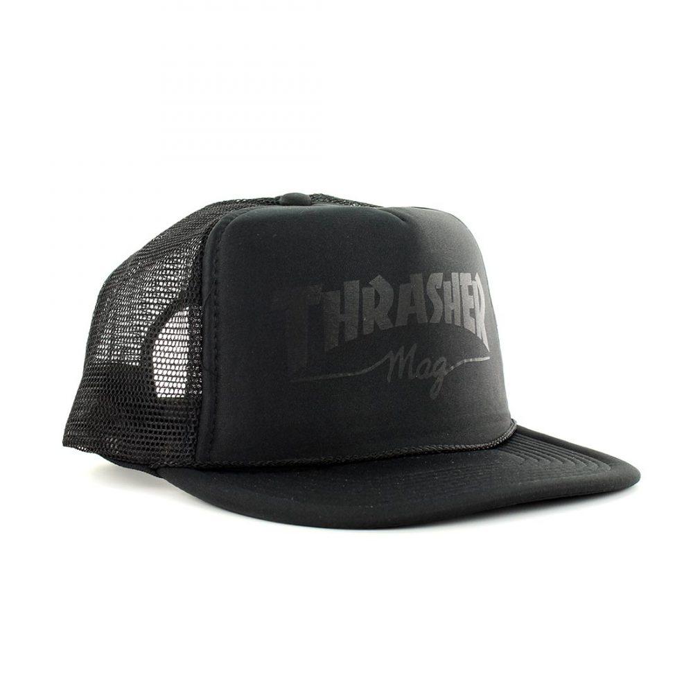 Thrasher Skate Mag Logo Mesh Trucker Cap - Black On Black 858b98fb937