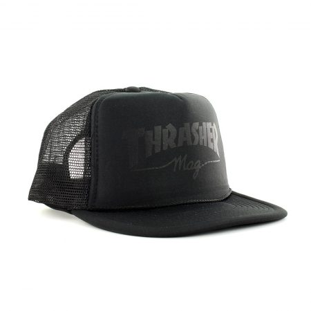 Thrasher Skate Mag Logo Mesh Trucker Cap - Black On Black