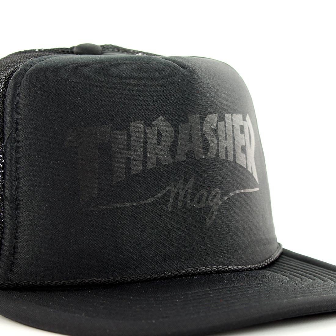 9b32d9c616a Thrasher Skate Mag Logo Mesh Trucker Cap - Black On Black