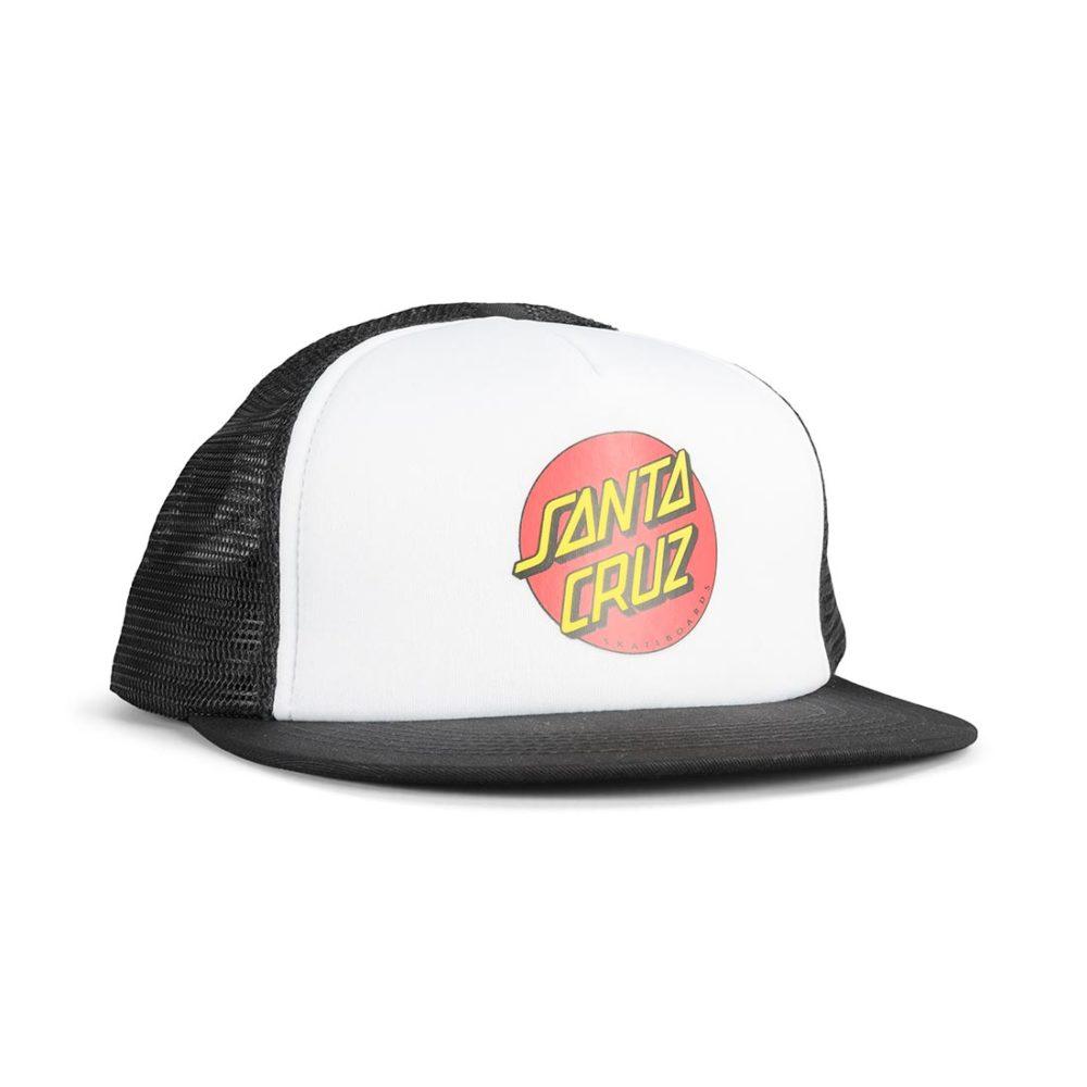 Santa Cruz Classic Dot Mesh Back Trucker Cap - White Black