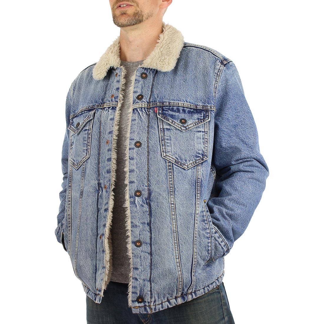 a8c3320576ee Levi's Skate Sherpa Trucker Denim Jacket - Kezar Blue