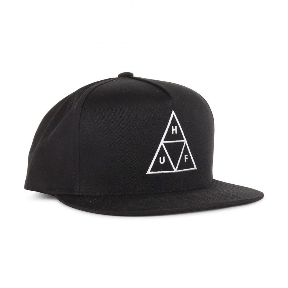 HUF-Triple-Triangle-Snapback-Hat-Black-01