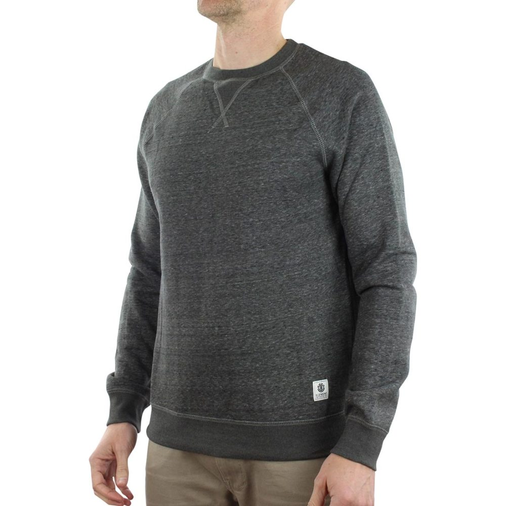 "The Element Meridian Crew Sweater  is a lighter weight fleece sweatshirt. Made from a Poly-cotton blend brushed fleece fabric that is both comfortable and durable, but is also a slightly lighter gauge fabric, which is perfect for layering. Speckle Brushed Fleece 240G 55% Cotton /45% Polyester Fit: Regular through the shoulders and body Model is 5' 10"" tall and of medium build Model wears size Medium"