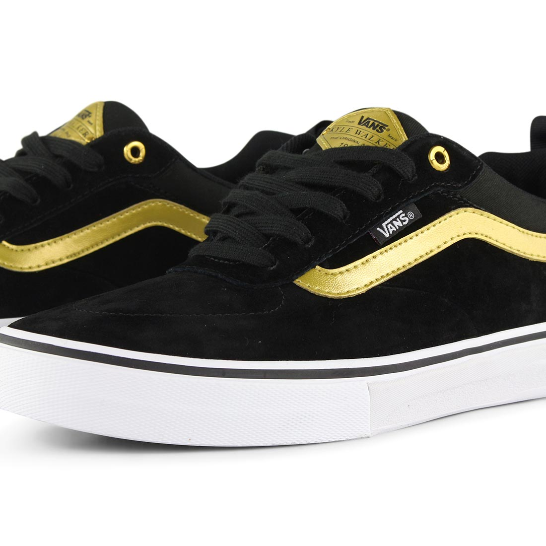 dfc114d3309873 Vans Kyle Walker Pro Skate Shoes - Black   Metallic Gold   White