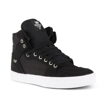 Supra Vaider High Top Shoes - Black / White / White