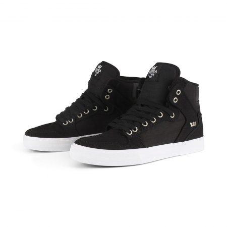 Supra Vaider High Top Shoes - Black / White / White