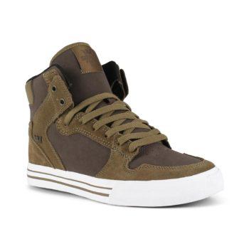 Supra Vaider High Top Shoes - Olive / Demitasse / White