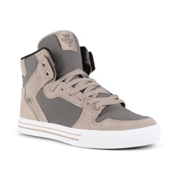 Supra Vaider High Top Shoes - Vintage Khaki / Charcoal White