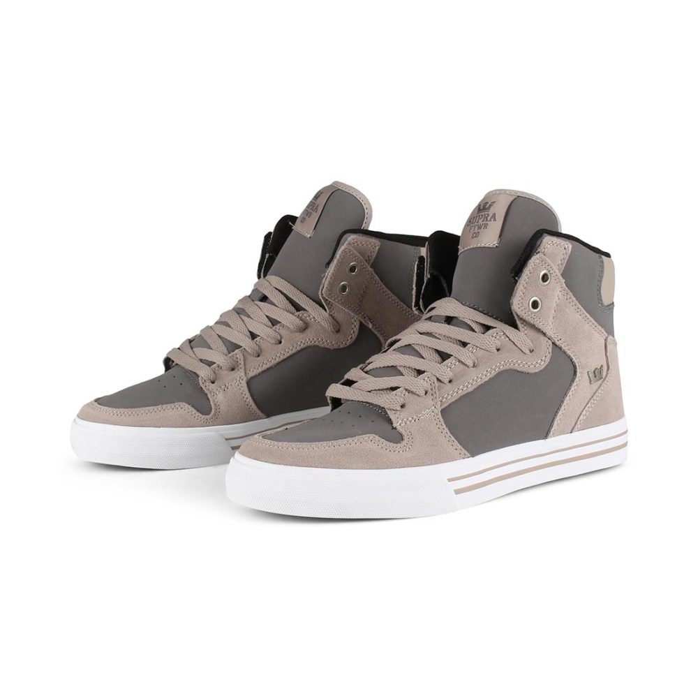 c5db8dfa5734 Supra Vaider High Top Shoes - Vintage Khaki   Charcoal White