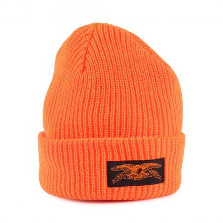 Anti Hero Stock Eagle Label Cuff Beanie Hat - Safety Orange / Black