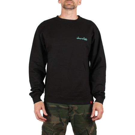 Chocolate Skateboards Mini Chunk Embroidered Crew Sweater - Black