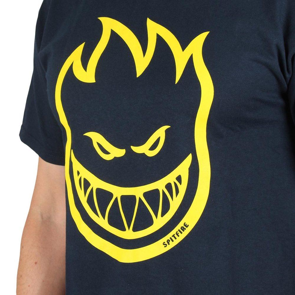 Spitfire Bighead S/S T-Shirt - Navy / Yellow