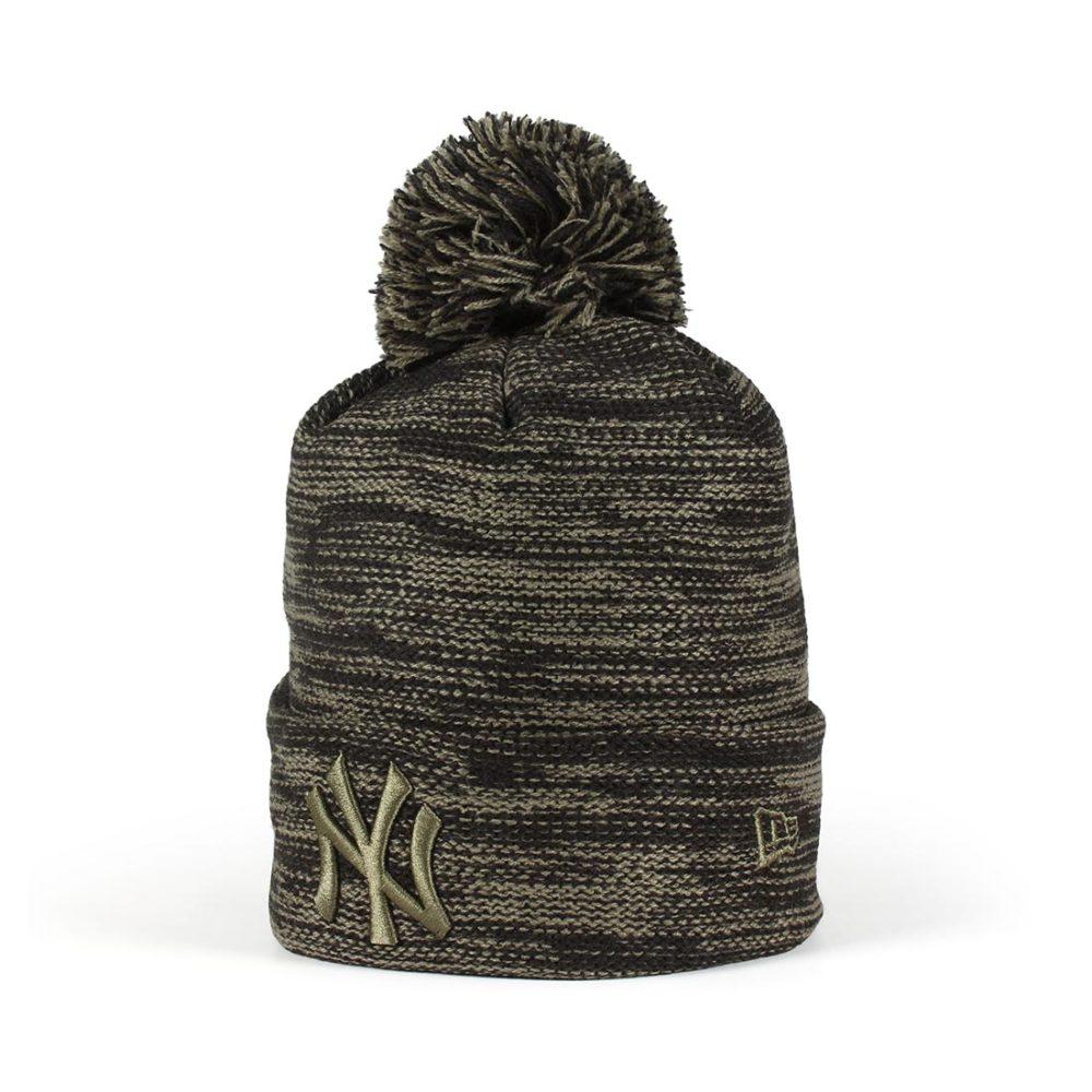 6a6b63e9be2 New Era New York Yankees Marl Knit Beanie - Black   New Olive