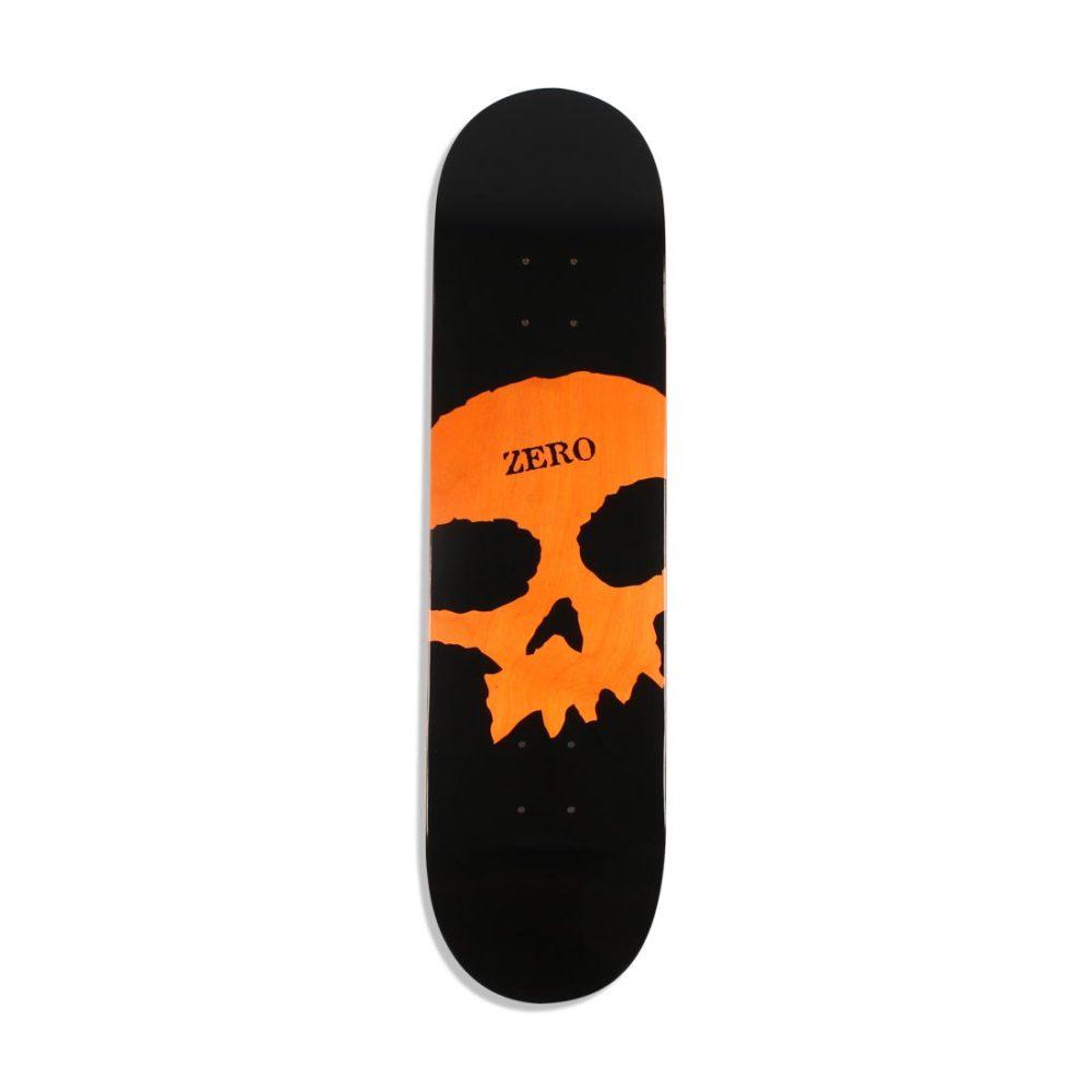 """Zero Single Skull Knockout 8"""" Skateboard Deck - Black / Orange"""