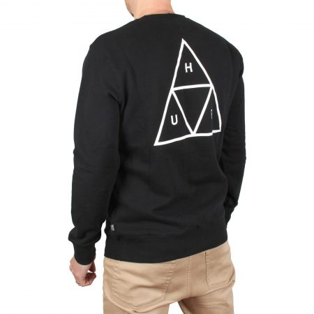 HUF Essentials Triple Triangle Crew Sweater - Black