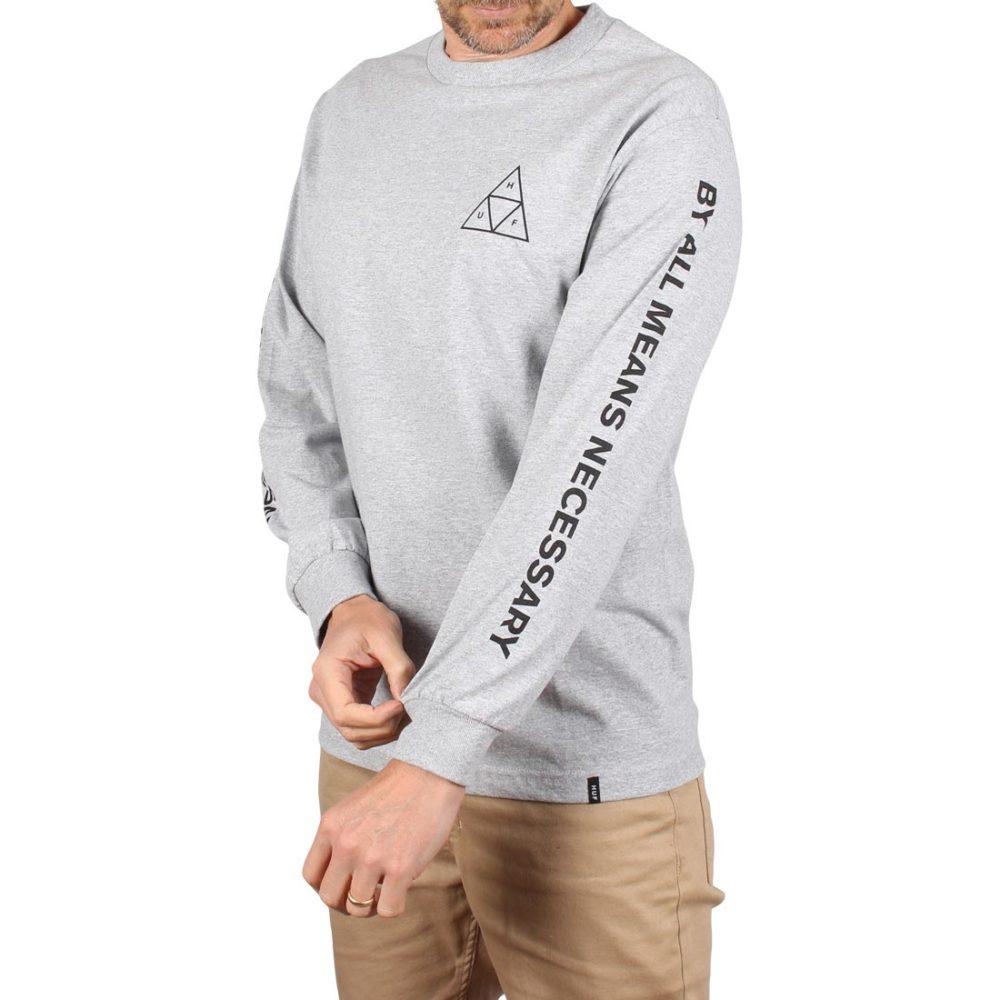 HUF Essentials Triple Triangle L/S T-Shirt - Grey Heather