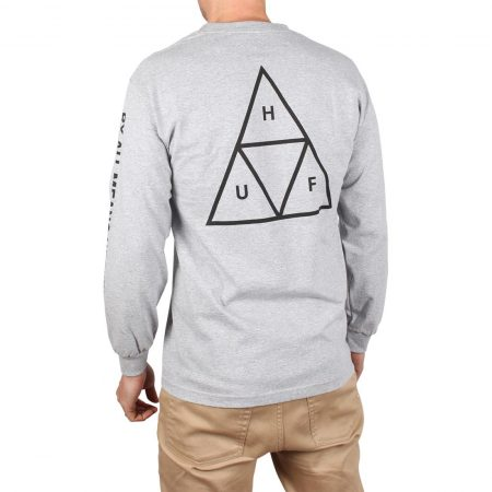 HUF Essentials Triple Triangle L/S T-Shirt - Grey Heather