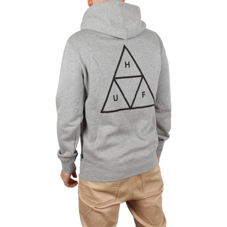 HUF Essentials Triple Triangle Pullover Hoodie - Heather Grey