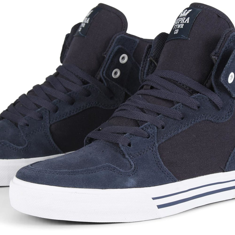 Supra Vaider High Top Shoes - Navy / White