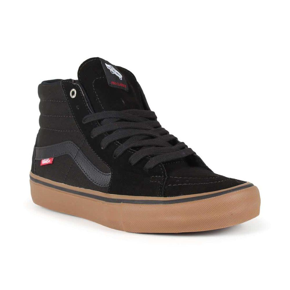 437ffd3a79 Vans Sk8-Hi Pro Skate Shoes - Black   Gum