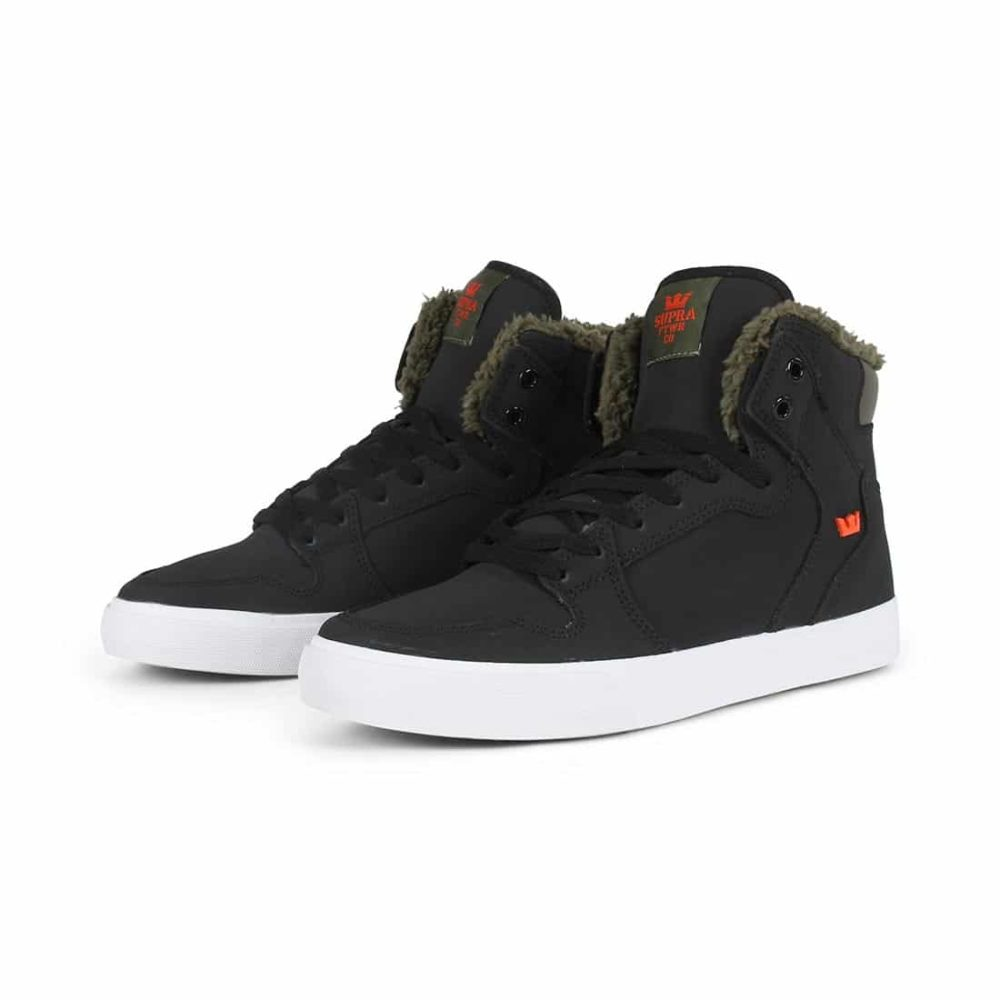Supra Vaider High Top Shoes - Black / Olive Night / White