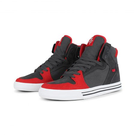 Supra Vaider High Top Shoes - Dk Grey / Risk Red / White