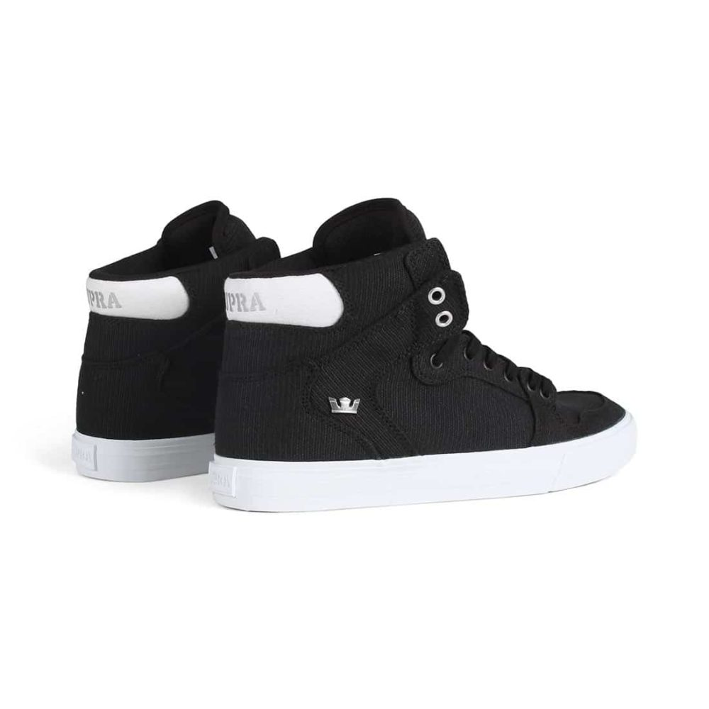 Supra Vaider High Top Shoes - Black / Silver / White