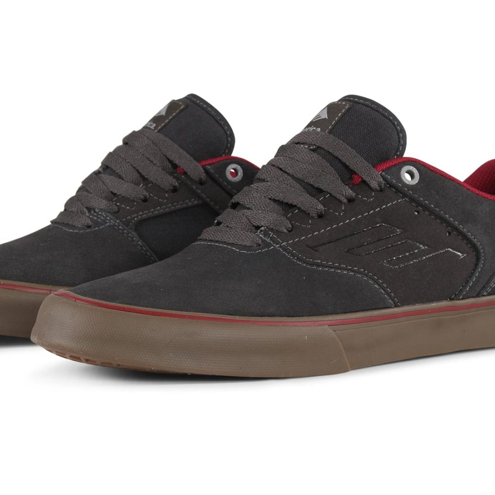 Emerica Reynolds Low Vulc Shoes - Dark Grey / Grey / Red