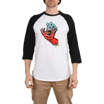 Santa Cruz Cut And Sew Fade Hand 3/4 Sleeve T-Shirt - Black / White