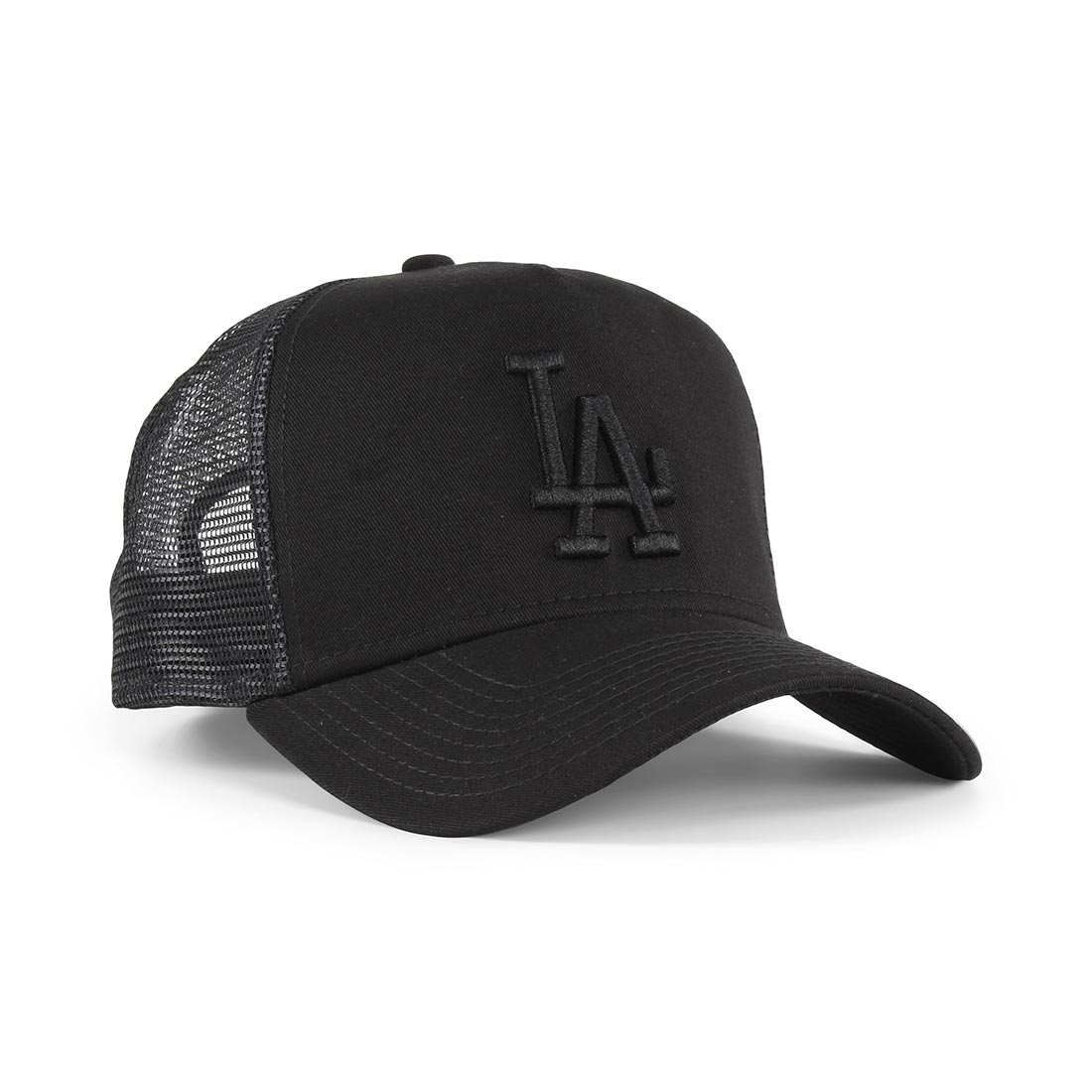 acb2fd2e6b8e6c New Era LA Dodgers League Essentials Trucker Cap – Black / Black