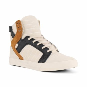 Supra Skytop Shoes - Bone / Black / Bone