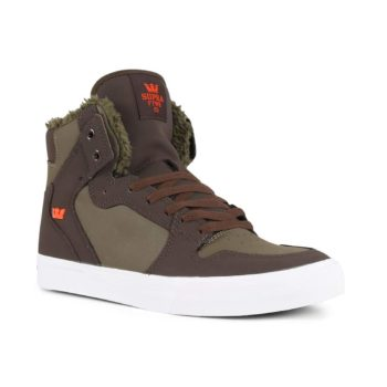 Supra Vaider High Top Shoes - Demitasse / Olive Night / White