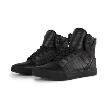 Supra Skytop Shoes – Black / Black / Red