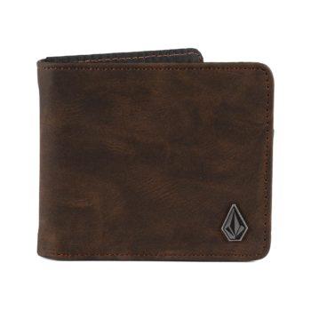 Volcom Slim Stone Leather Wallet - Brown