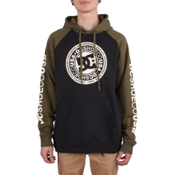DC Shoes Circle Star Pullover Hoodie - Black / Fatigue Green / Antique White