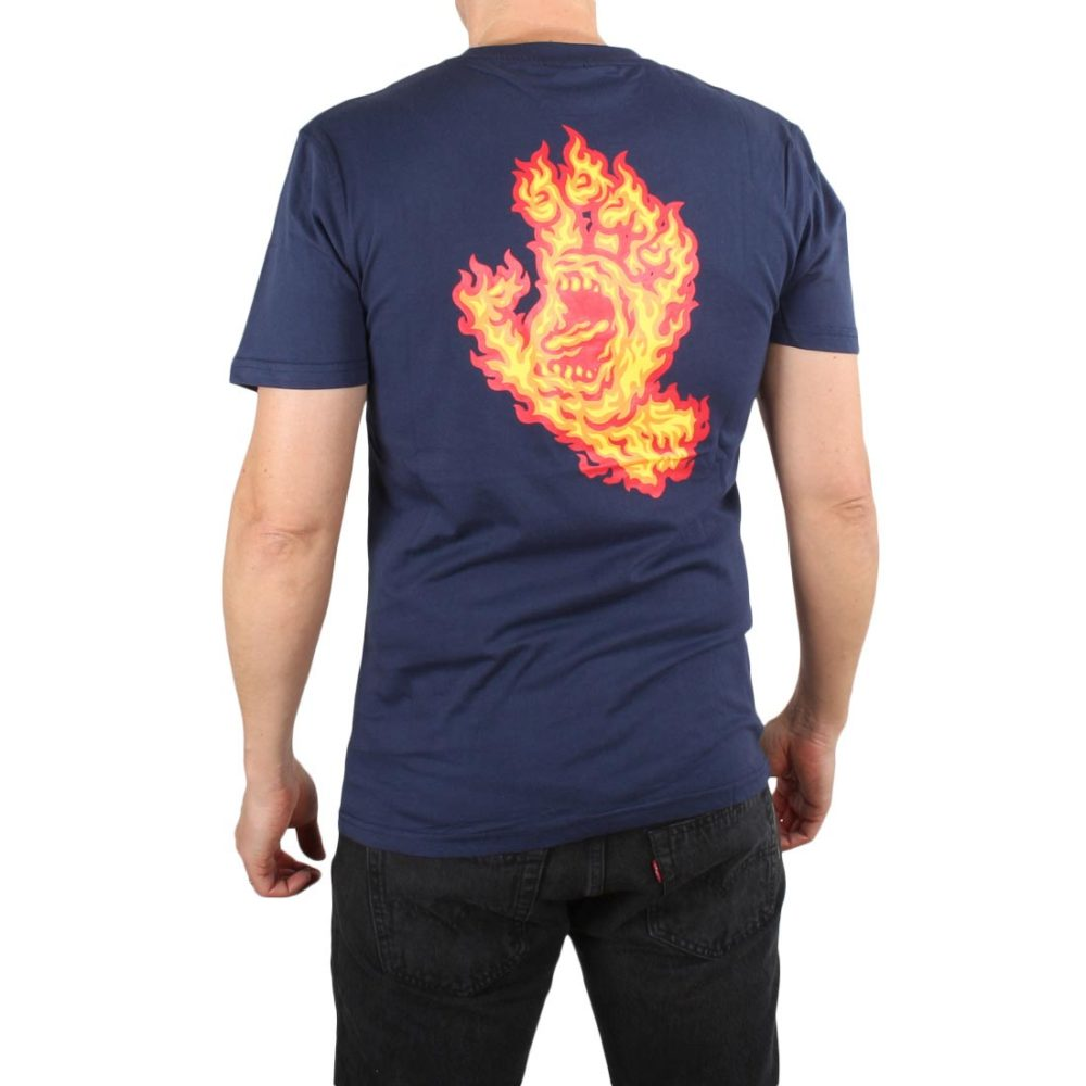 Santa Cruz Flame Hand S/S T-Shirt - Dark Navy