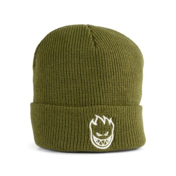 Spitfire Bighead Cuff Beanie Hat - Olive / White