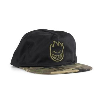 Spitfire Bighead Unstructured Snapback Cap - Black / Camo / Dark Green