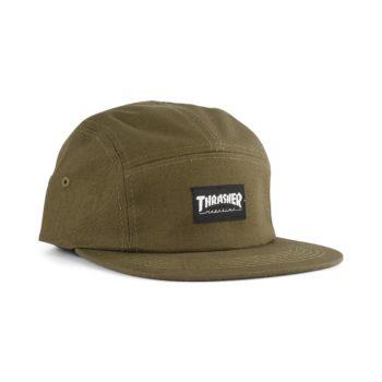 Thrasher 5 Panel Strapback Cap – Army
