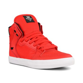 Supra Vaider High Top Shoes – Risk Red / Black / White
