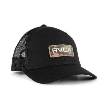 RVCA Ticket Mesh Back Trucker Cap - Black / Camo