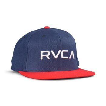 RVCA RV Twill Snapback III Hat – Navy / Red