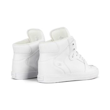 Supra Vaider High Top Shoes – White / White / Red