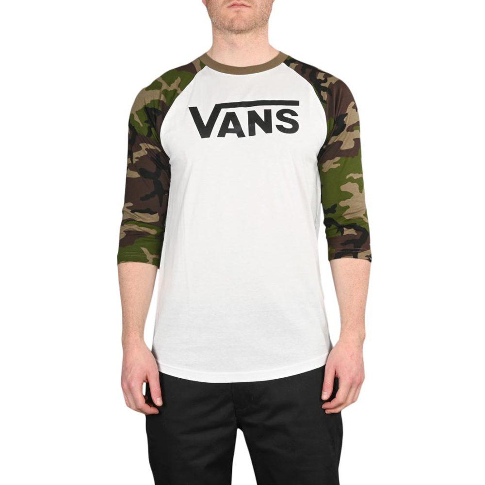 Vans Classic Raglan 3/4 Sleeve T-Shirt - White / Camo